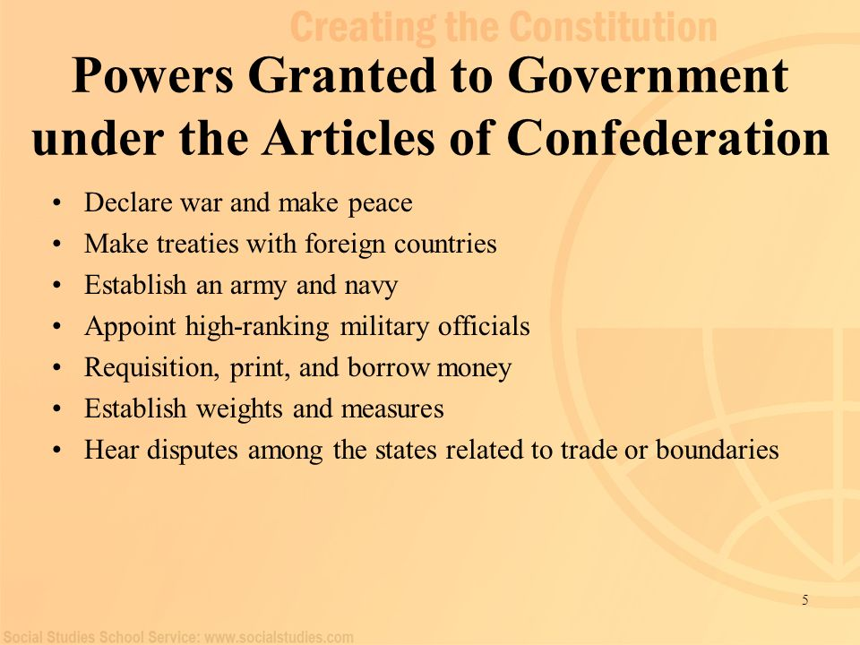 Powers Granted to Government under the Articles of Confederation