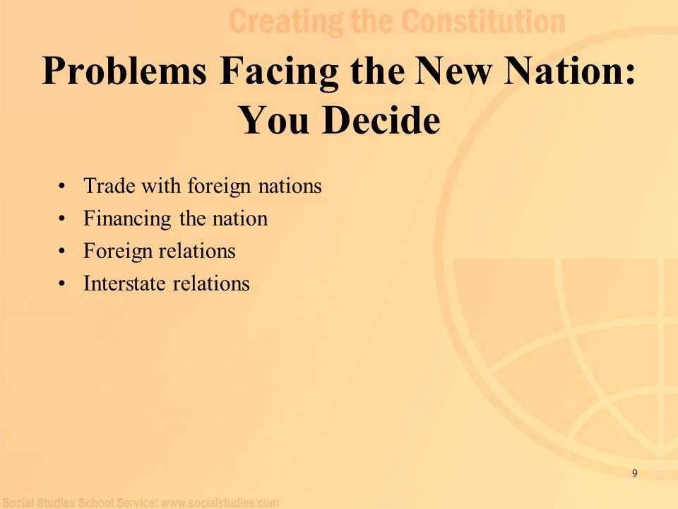 Problems Facing the New Nation: You Decide