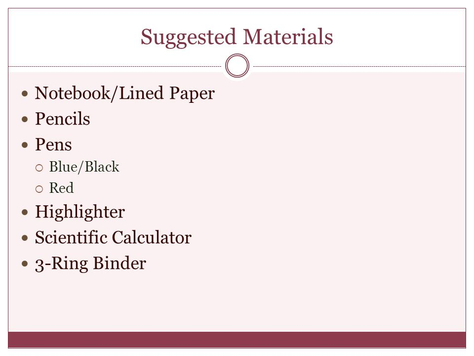 Suggested Materials Notebook/Lined Paper Pencils Pens Highlighter