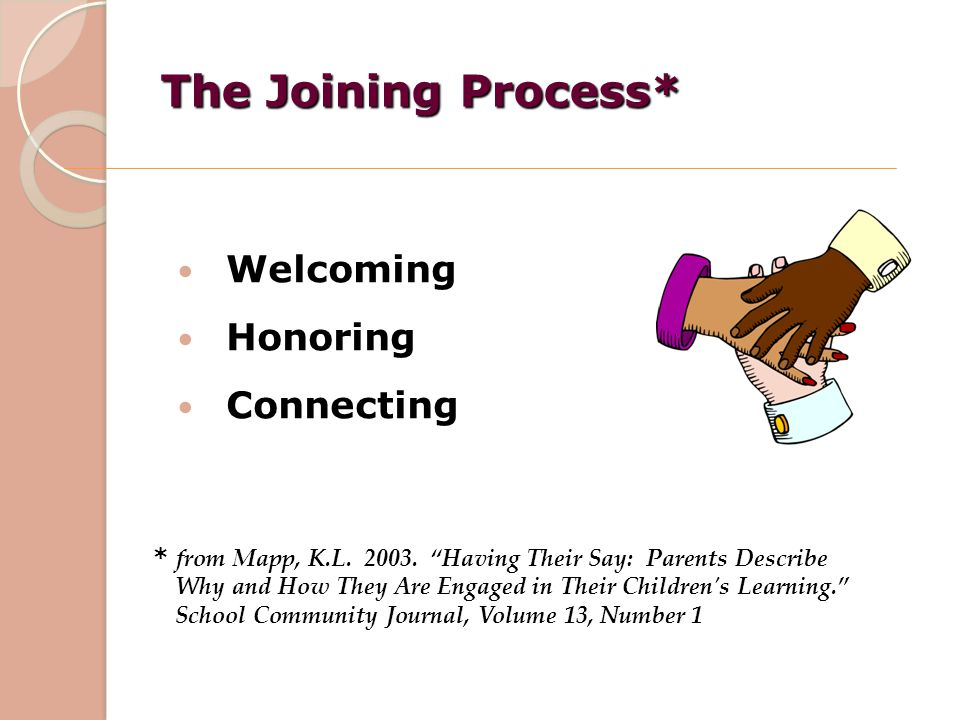 The Joining Process* Welcoming Honoring Connecting
