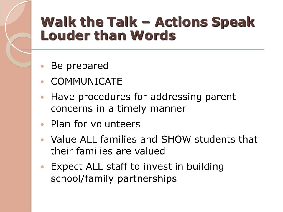 Walk the Talk – Actions Speak Louder than Words