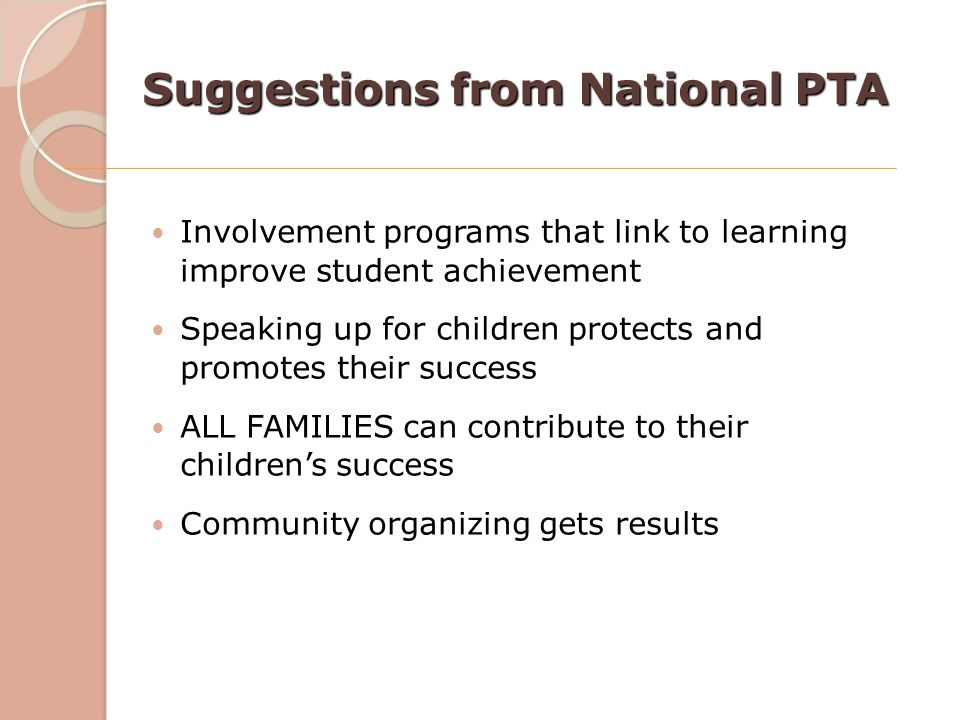 Suggestions from National PTA