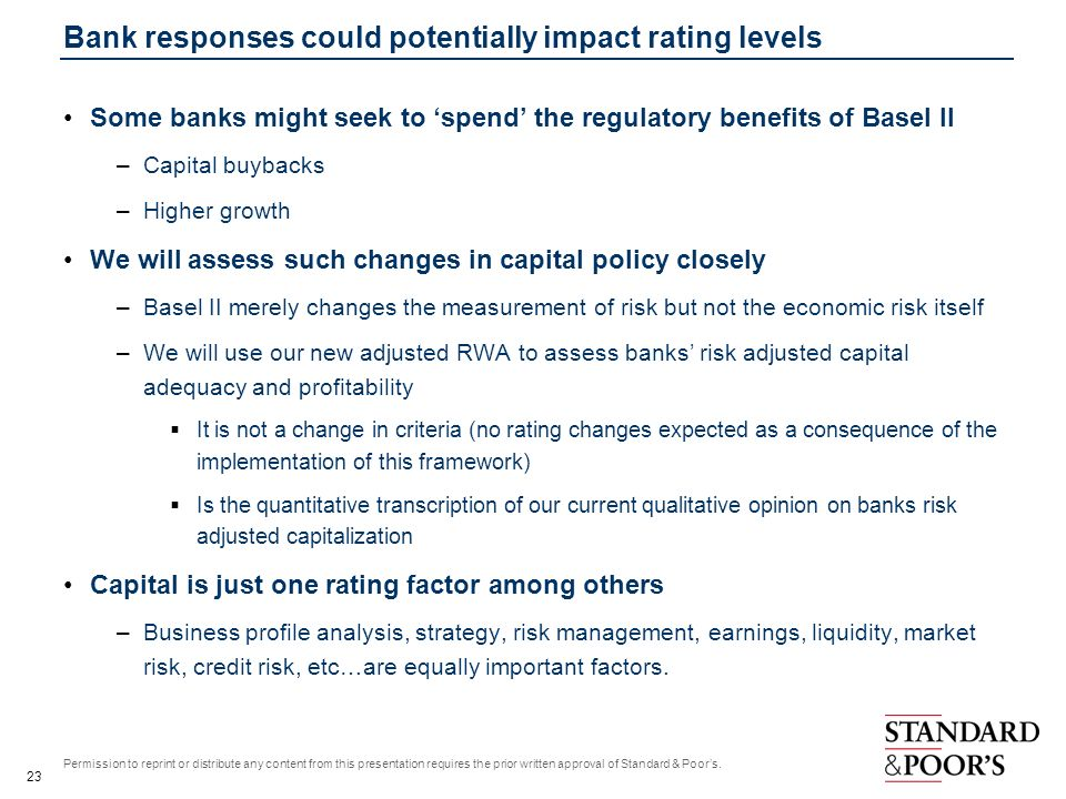 Bank responses could potentially impact rating levels
