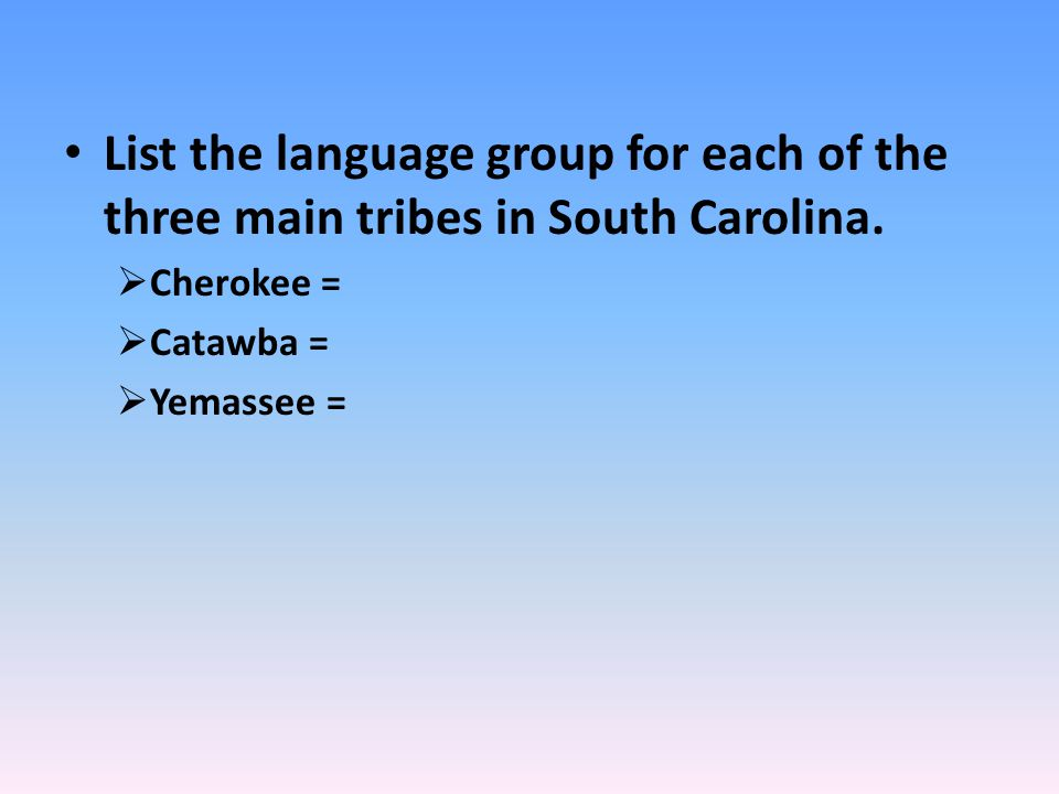 List the language group for each of the three main tribes in South Carolina.