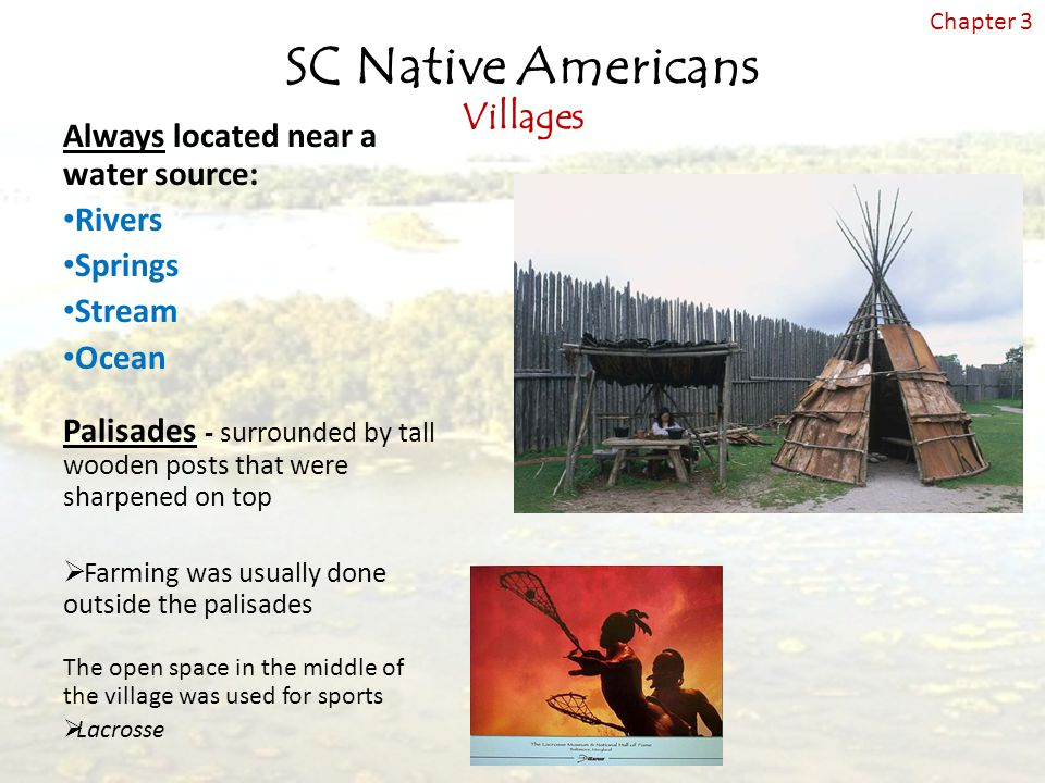 SC Native Americans Villages Always located near a water source: