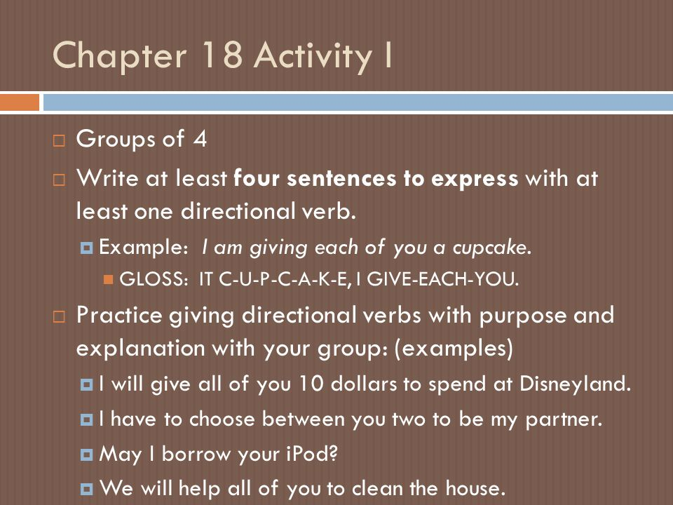 Chapter 18 Activity I Groups of 4