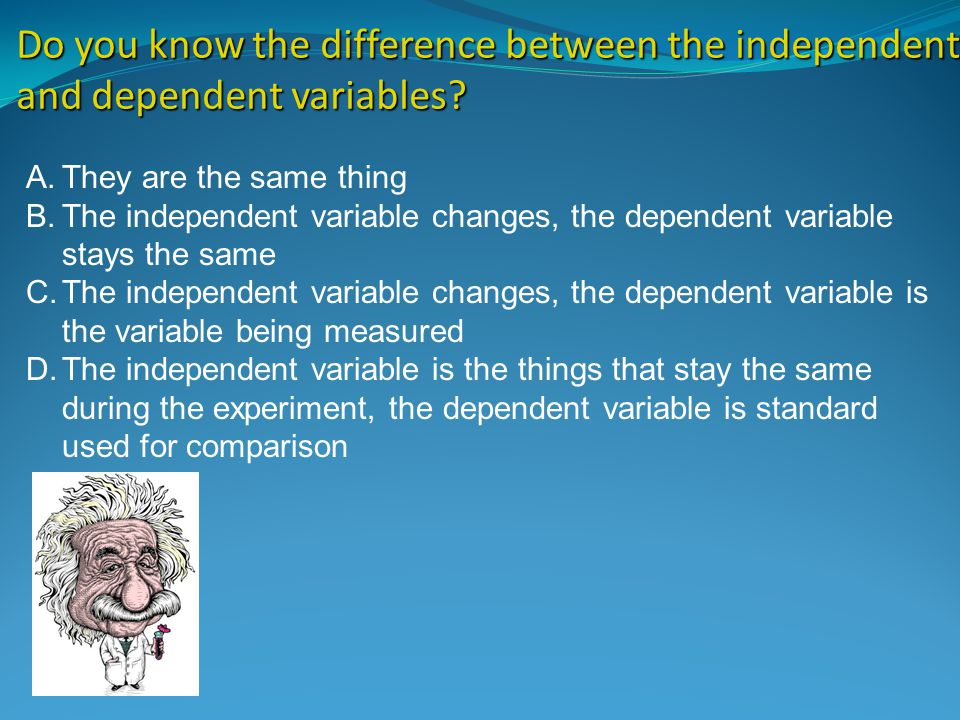 does the independent variable stay the same