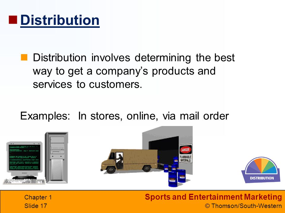Distribution Distribution involves determining the best way to get a company's products and services to customers.