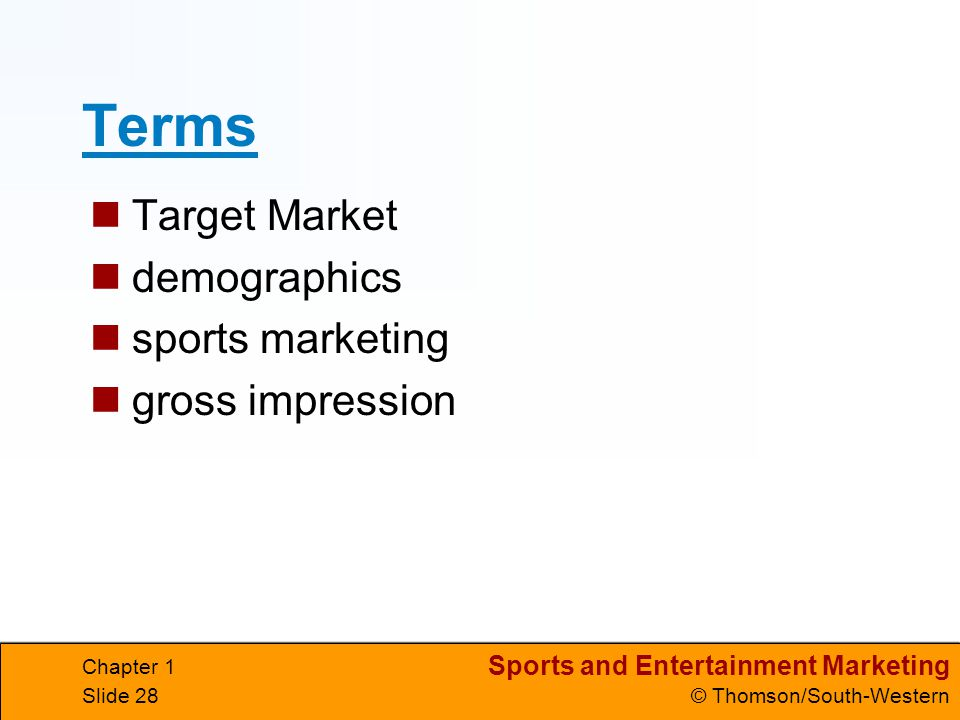 Terms Target Market demographics sports marketing gross impression