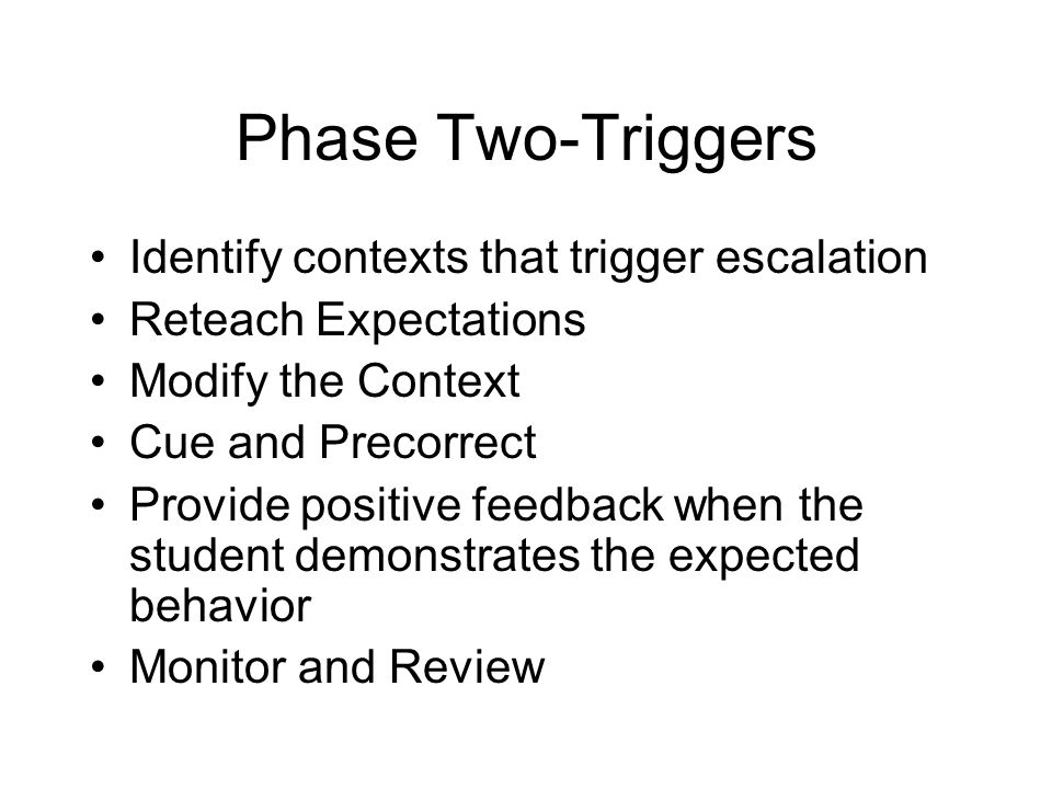Phase Two-Triggers Identify contexts that trigger escalation