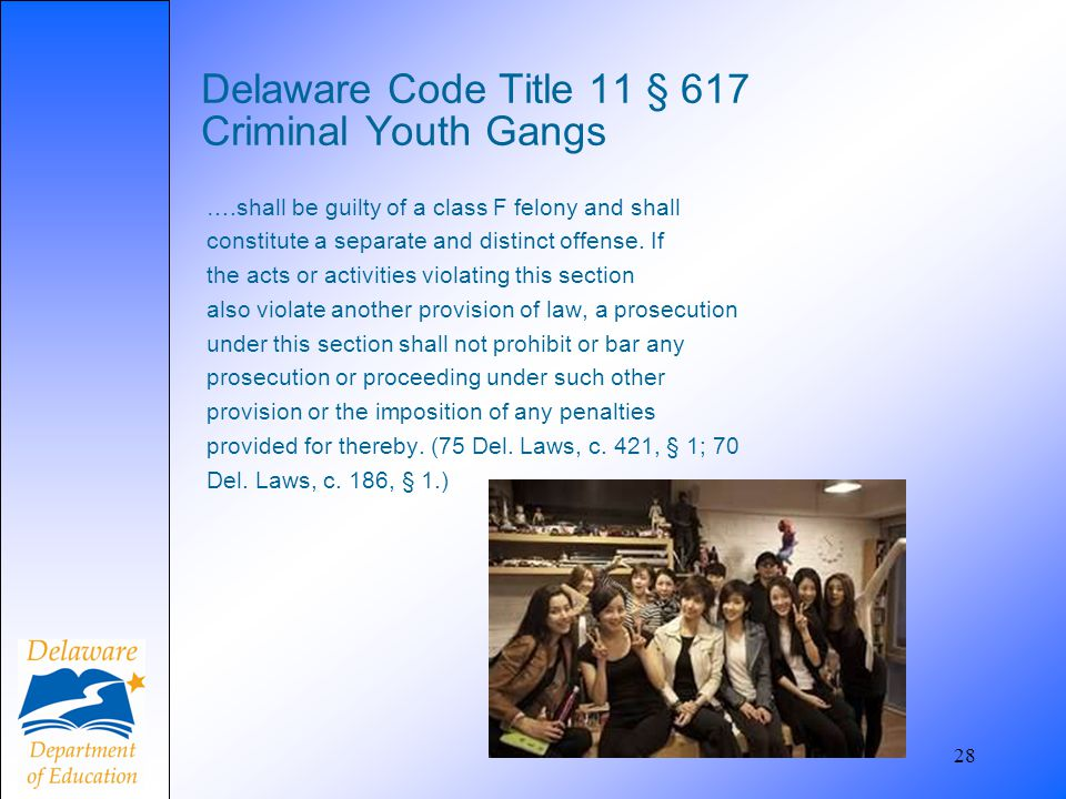 Delaware Code Title 11 § 617 Criminal Youth Gangs