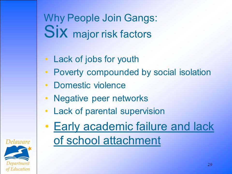Why People Join Gangs: Six major risk factors