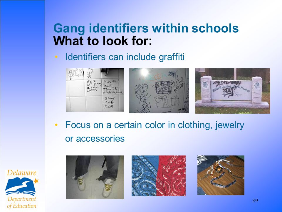 Gang identifiers within schools What to look for: