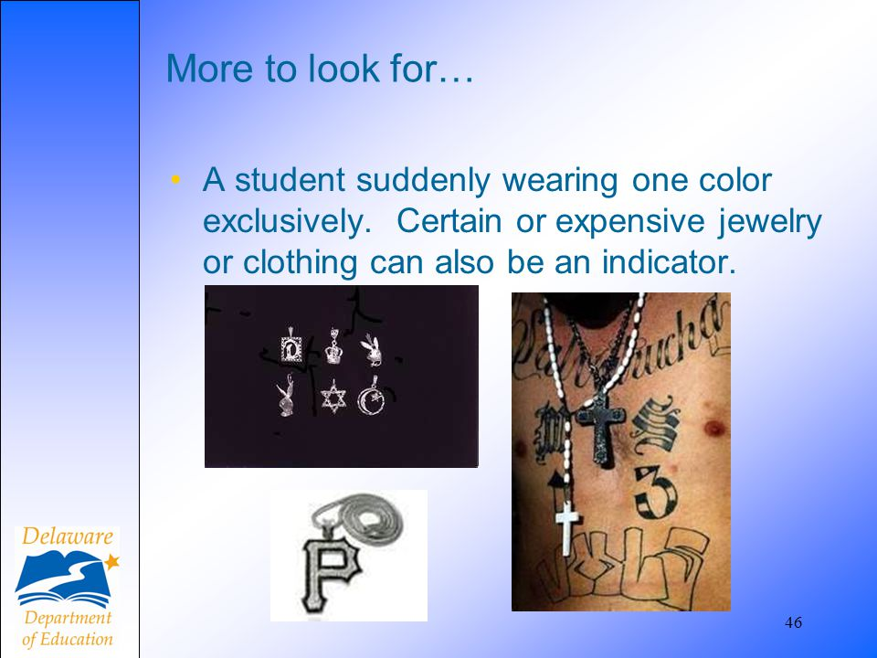 More to look for… A student suddenly wearing one color exclusively. Certain or expensive jewelry or clothing can also be an indicator.