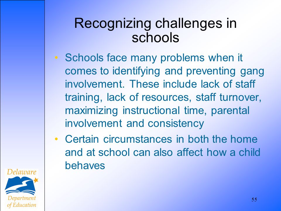 Recognizing challenges in schools