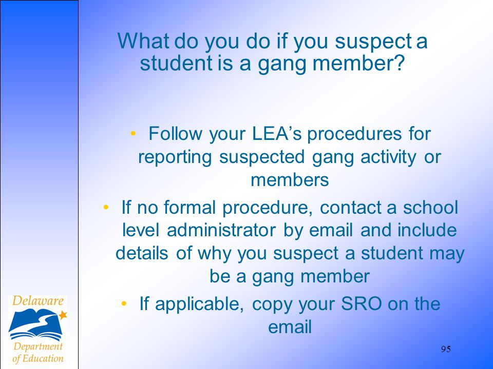 What do you do if you suspect a student is a gang member