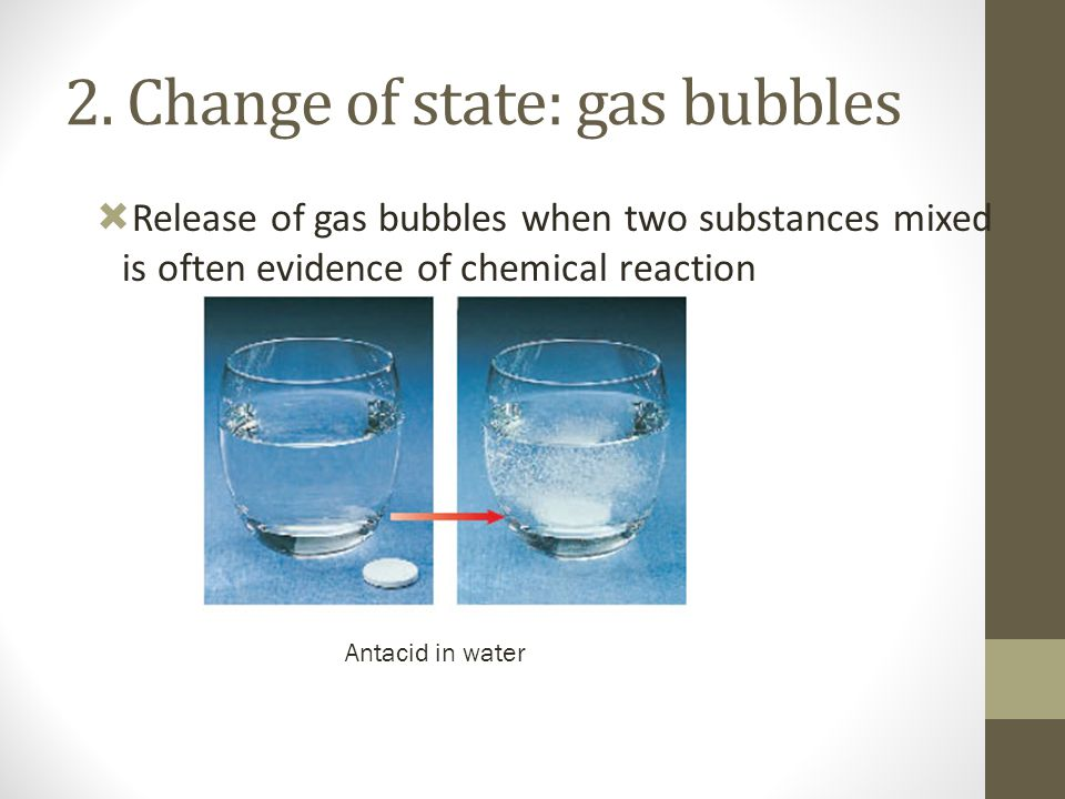 2. Change of state: gas bubbles