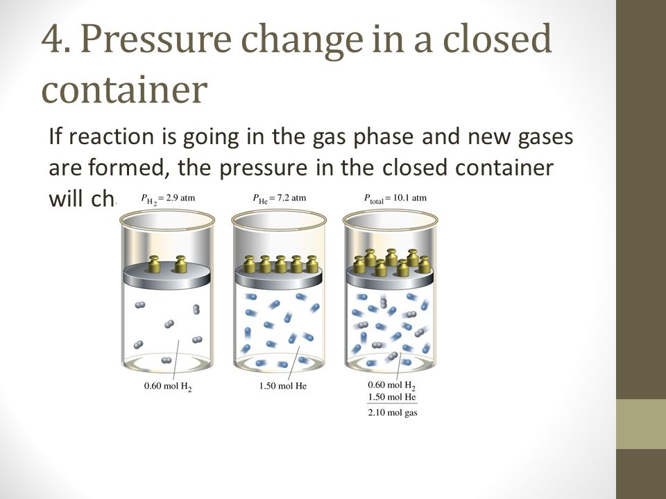 4. Pressure change in a closed container