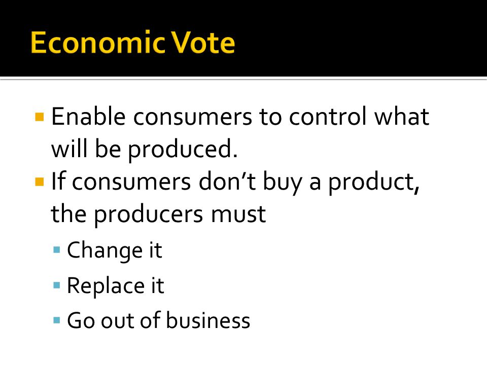 Economic Vote Enable consumers to control what will be produced.