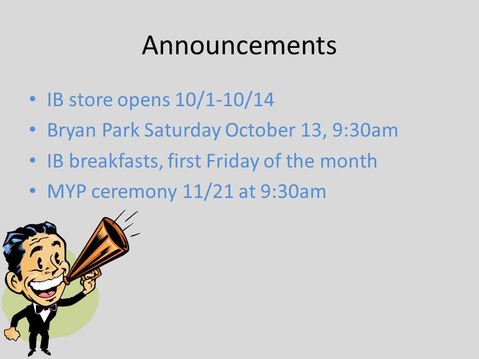Announcements IB store opens 10/1-10/14