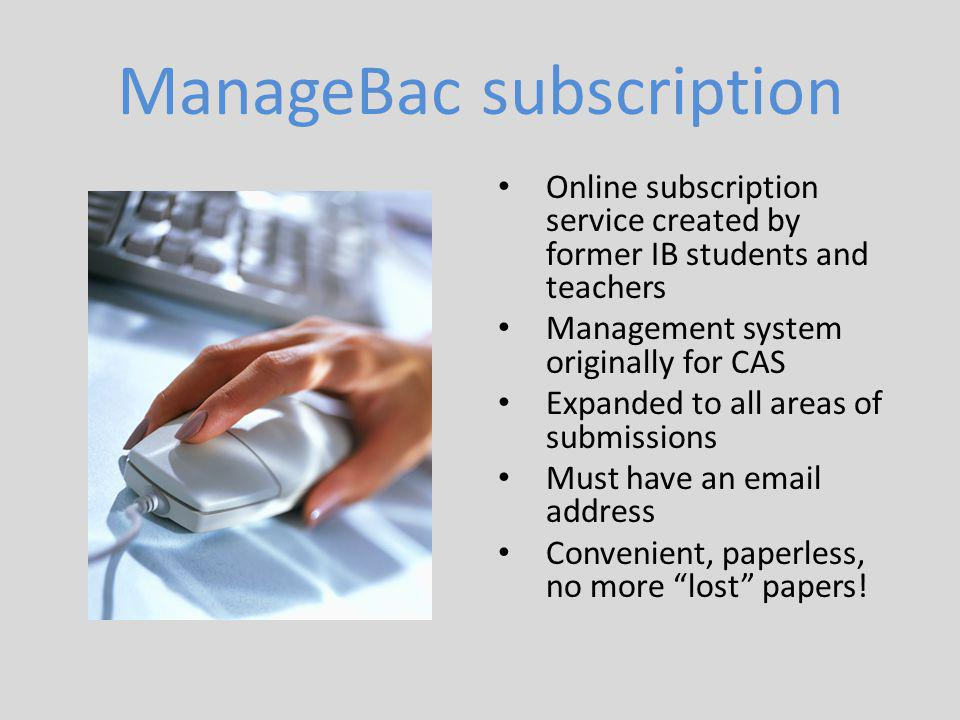 ManageBac subscription
