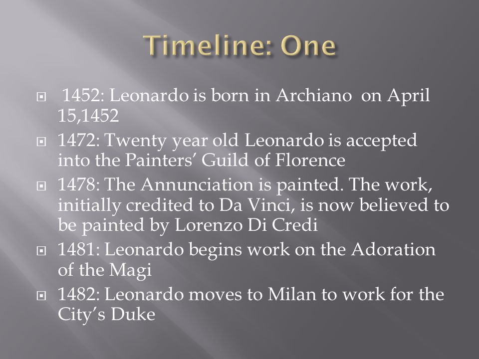 Timeline: One 1452: Leonardo is born in Archiano on April 15,1452