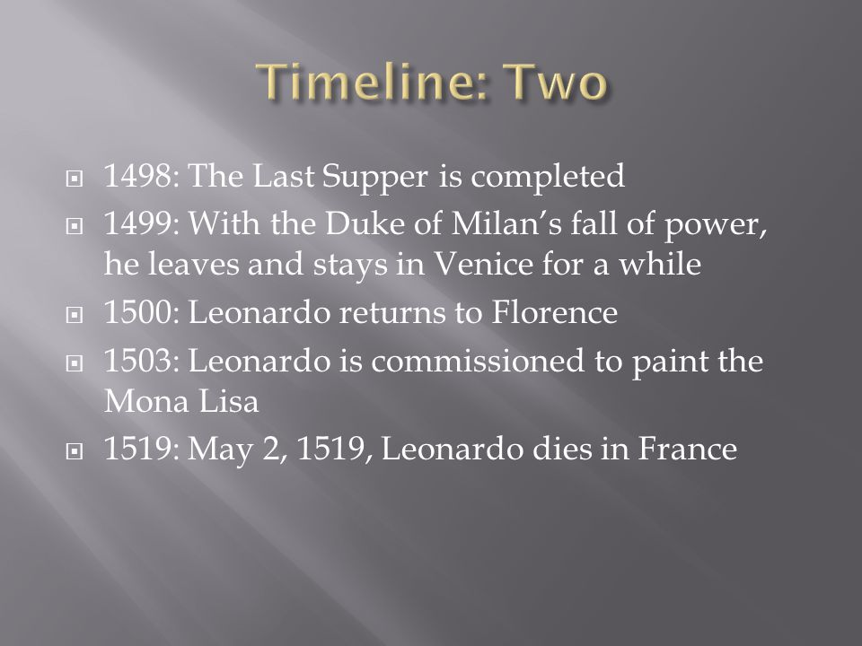 Timeline: Two 1498: The Last Supper is completed