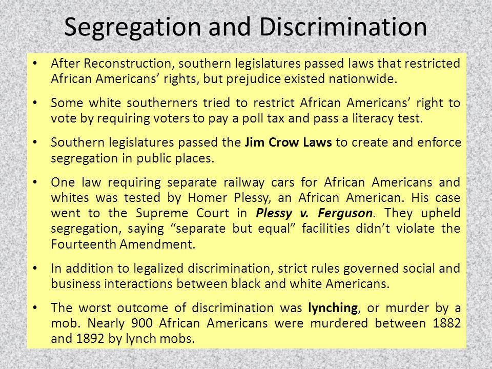 Segregation and Discrimination