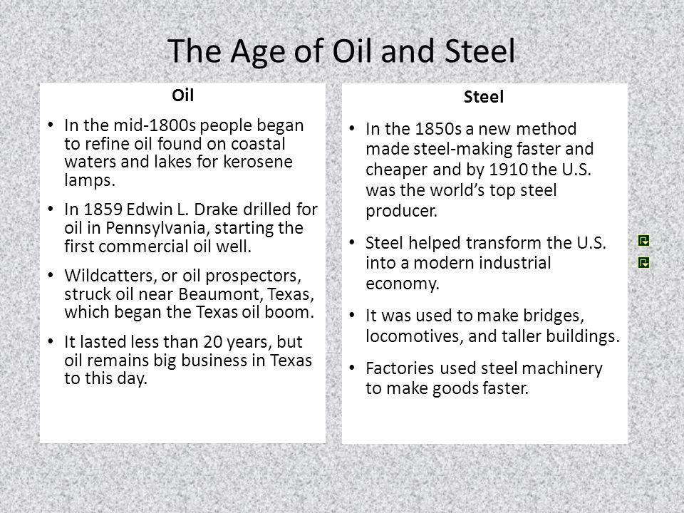 The Age of Oil and Steel Oil Steel
