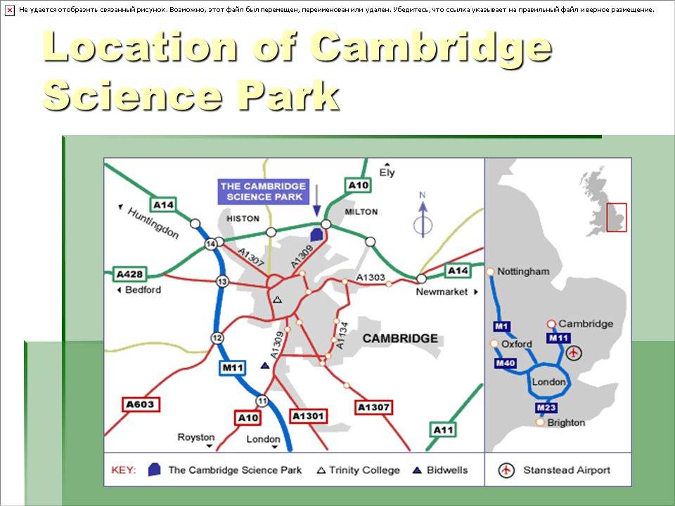 Location of Cambridge Science Park