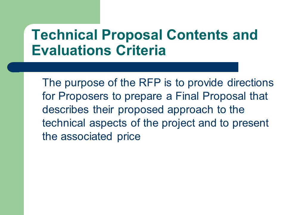 Technical Proposal Contents and Evaluations Criteria