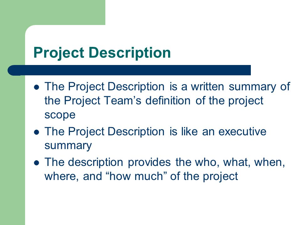 Project Description The Project Description is a written summary of the Project Team's definition of the project scope.