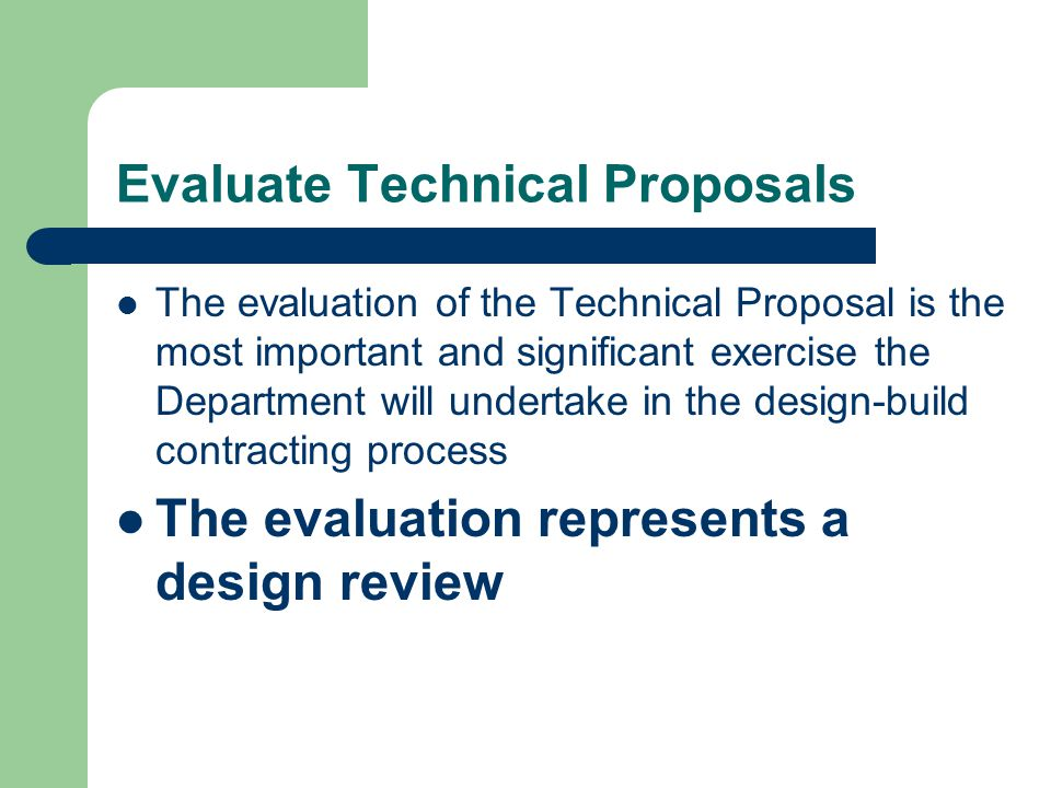 Evaluate Technical Proposals