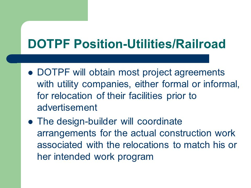 DOTPF Position-Utilities/Railroad