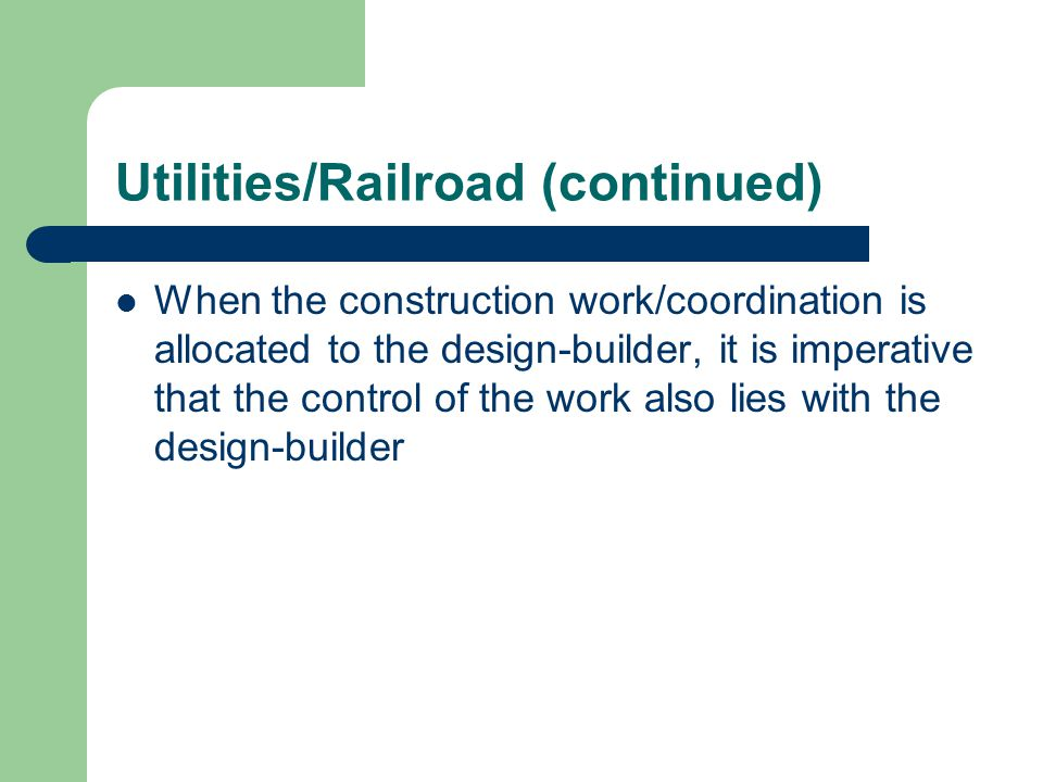 Utilities/Railroad (continued)