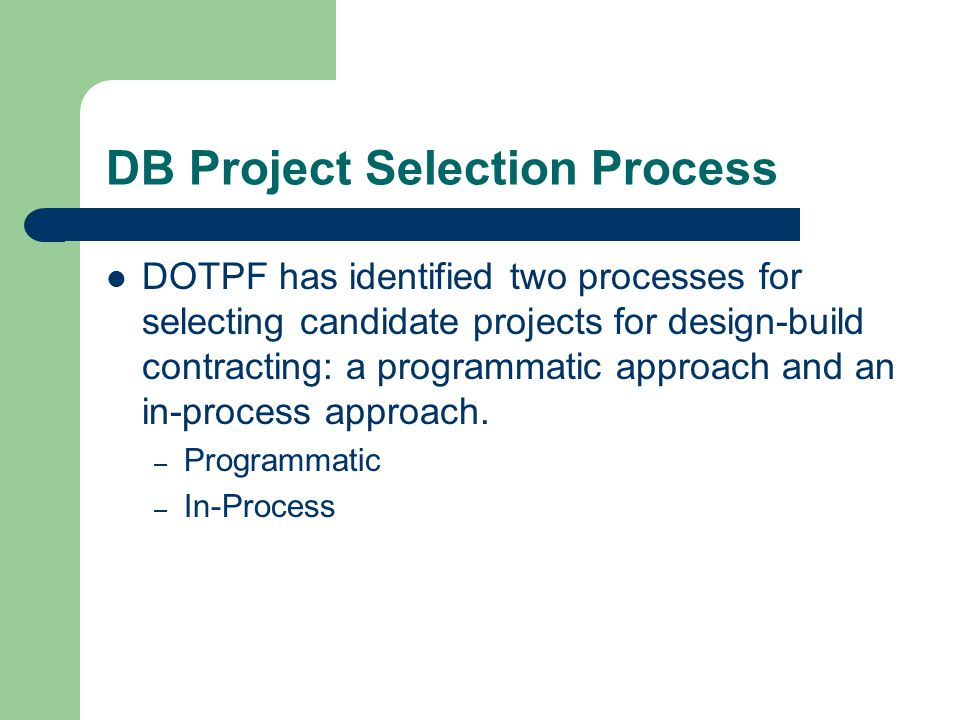 DB Project Selection Process