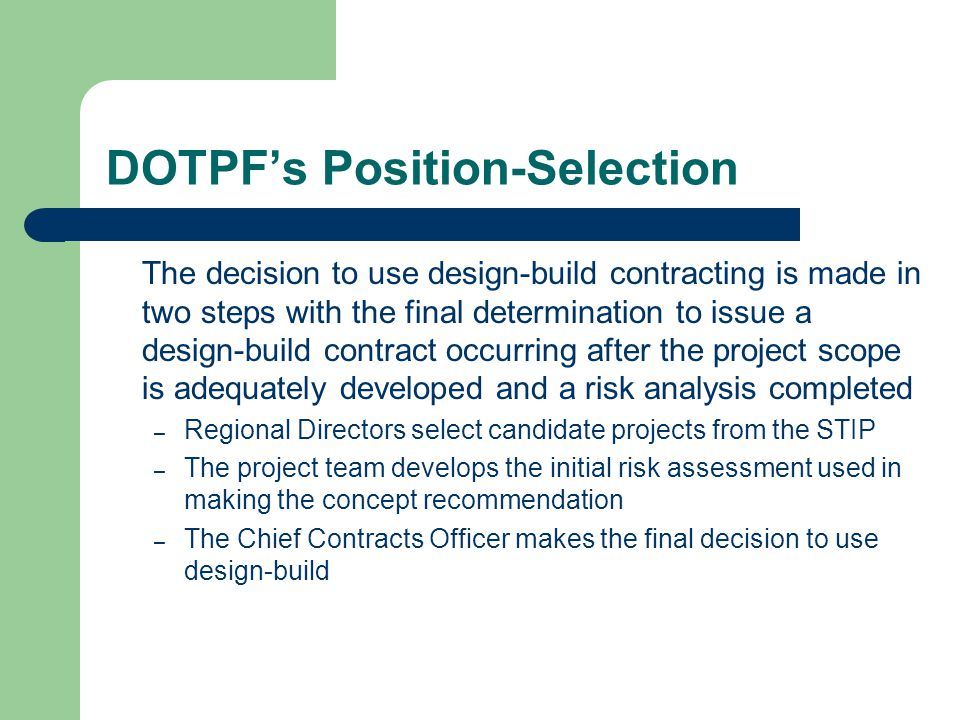 DOTPF's Position-Selection