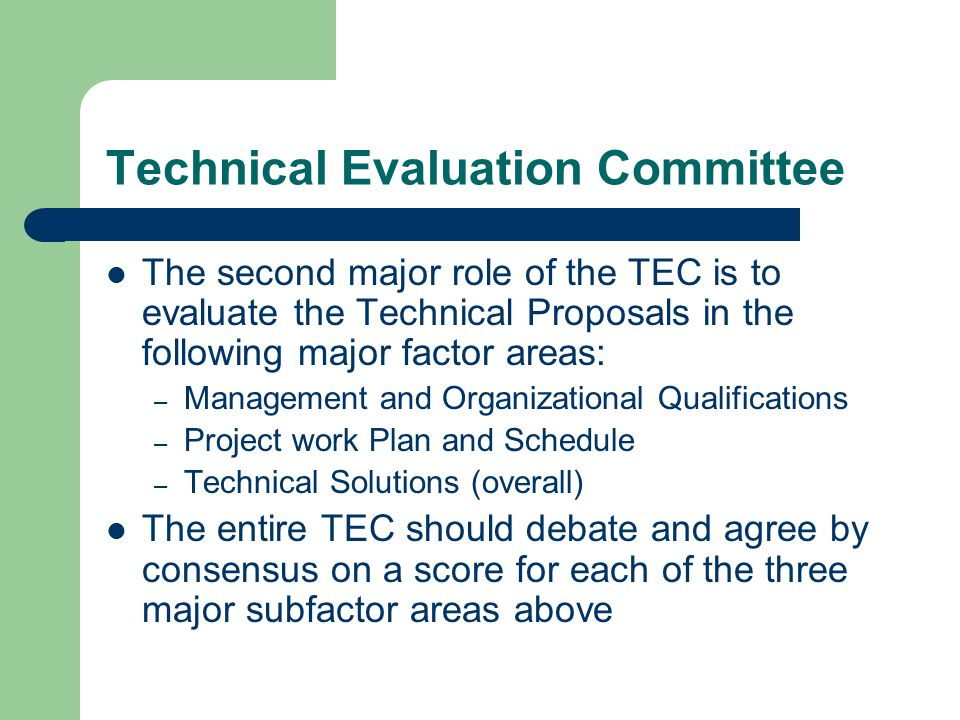 Technical Evaluation Committee