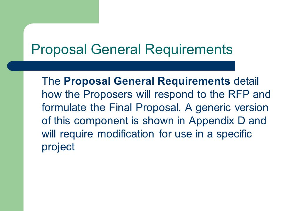 Proposal General Requirements