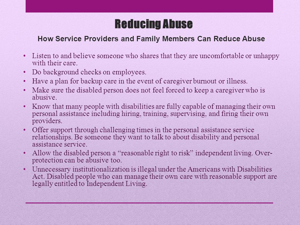 How Service Providers and Family Members Can Reduce Abuse