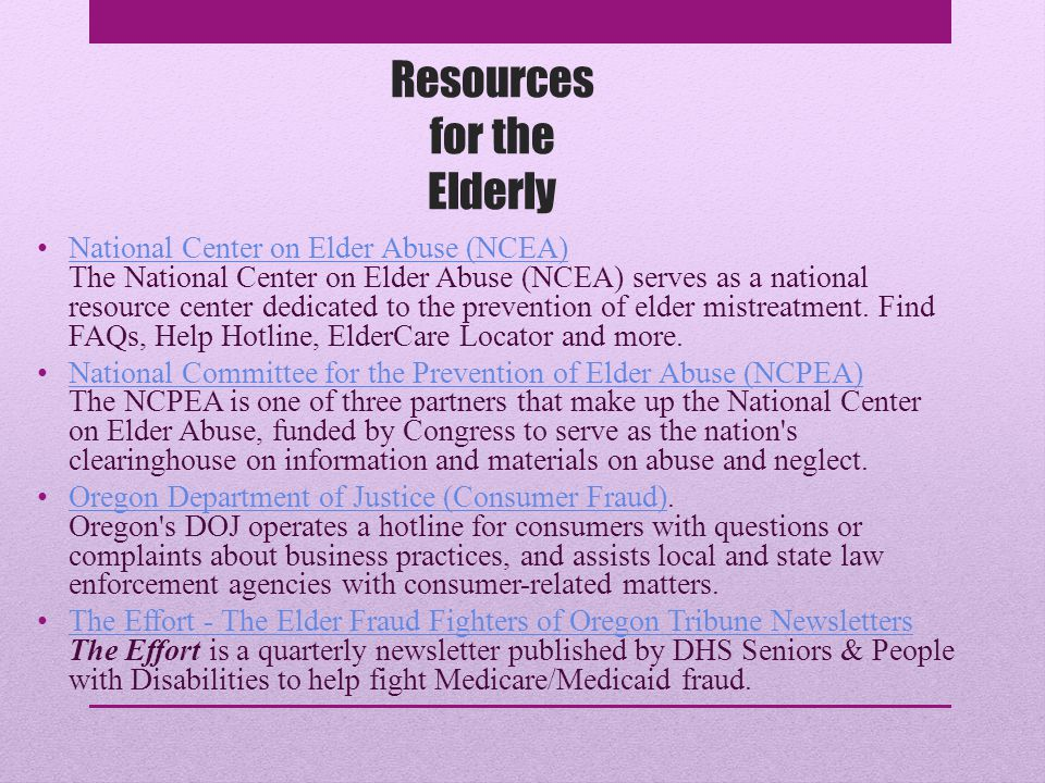 Resources for the Elderly