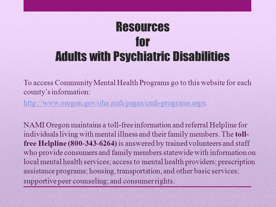 Resources for Adults with Psychiatric Disabilities
