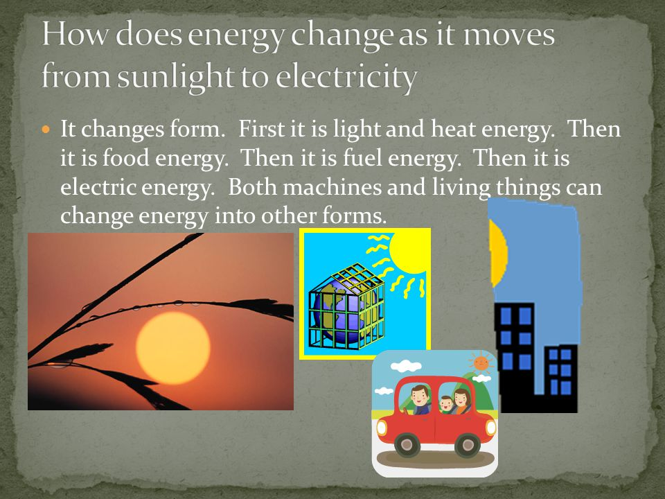 How does energy change as it moves from sunlight to electricity
