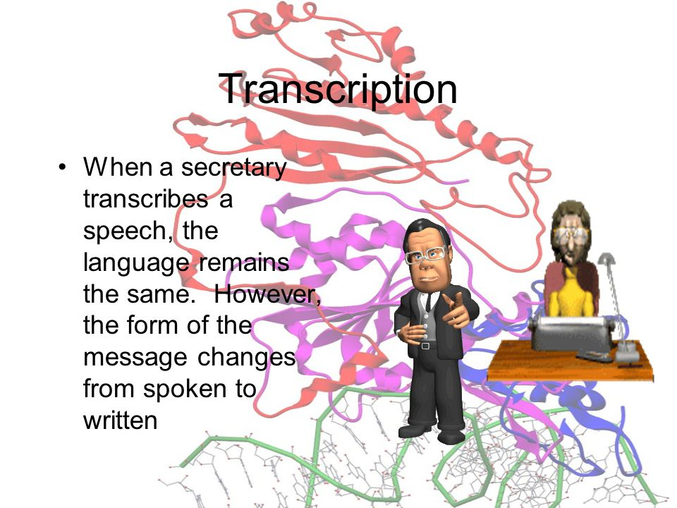 Transcription When a secretary transcribes a speech, the language remains the same.