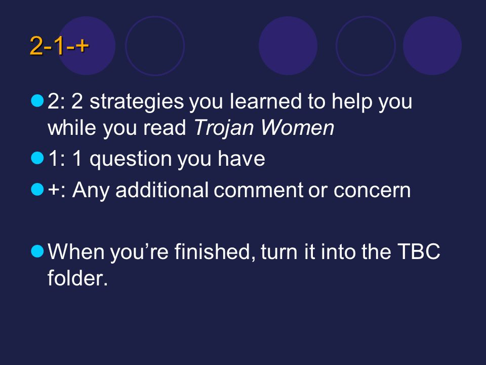 : 2 strategies you learned to help you while you read Trojan Women. 1: 1 question you have.