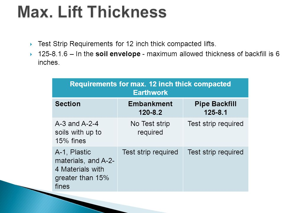 Requirements for max. 12 inch thick compacted Earthwork
