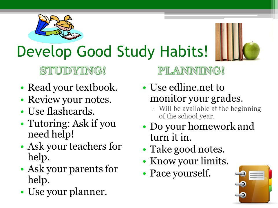 essays on good study habits These 3 good study habits for college students are sure to help students start the school year on the right track don't toss homework assignments, tests, or quizzes save these, and take the time to correct wrong answers if your professor hasn't done so already.