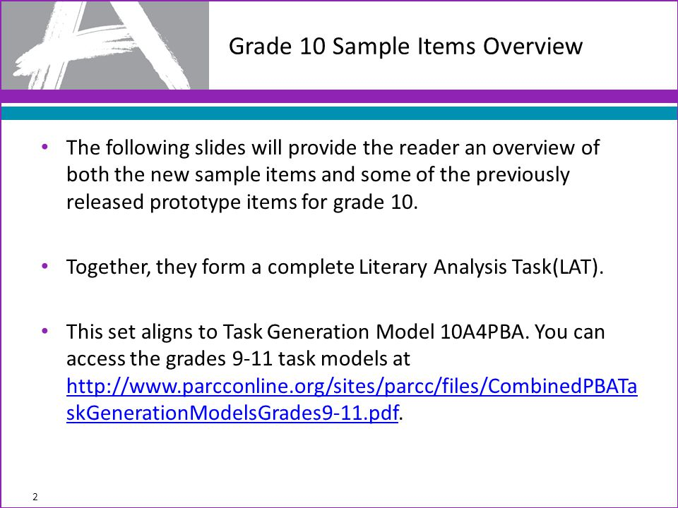 Grade 10 Sample Items Overview