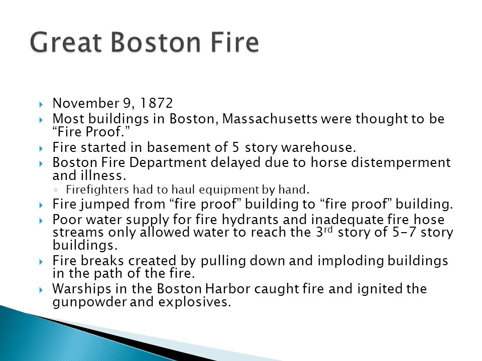 Great Boston Fire November 9, 1872