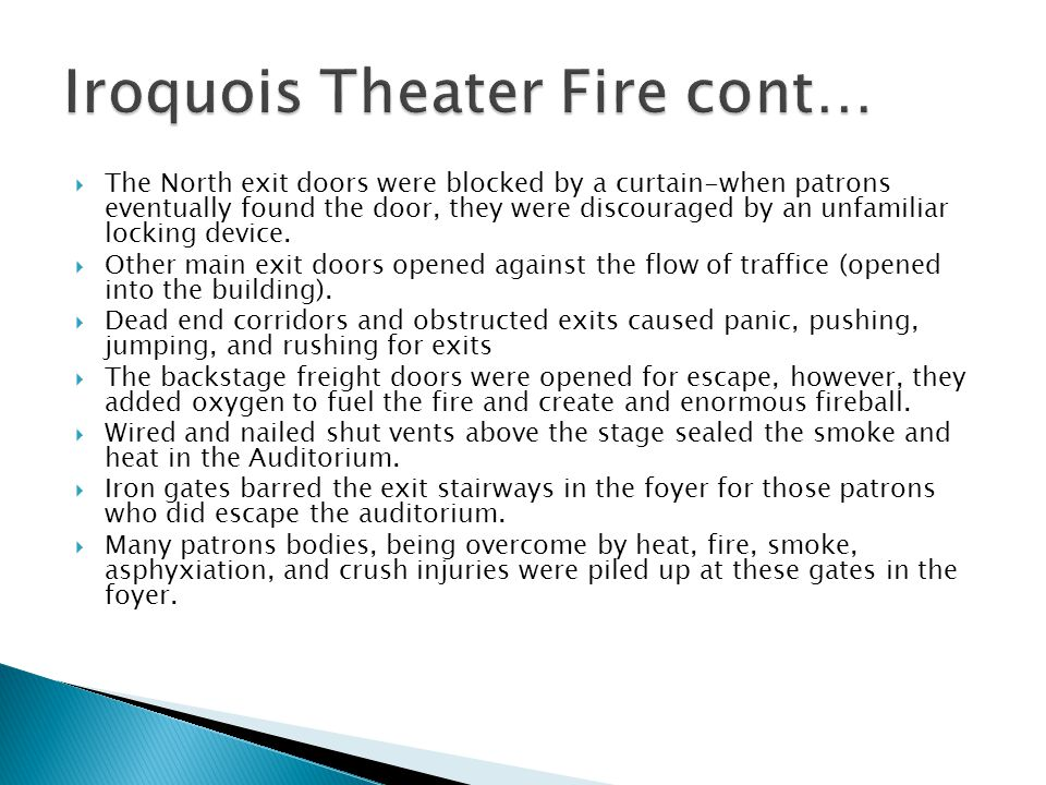 Iroquois Theater Fire cont…